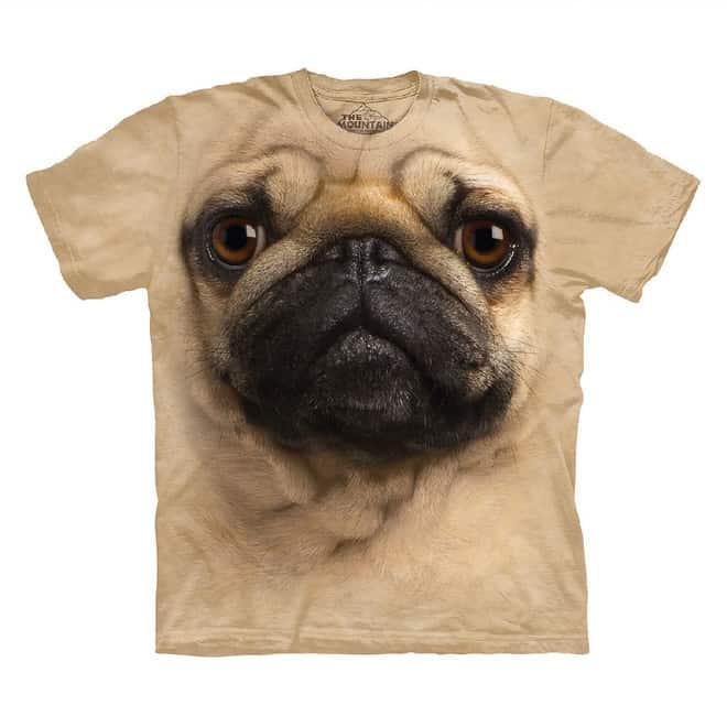 Mops T-shirt – 3D effekt mops motiv på din t-shirt – pris DKK 239,-